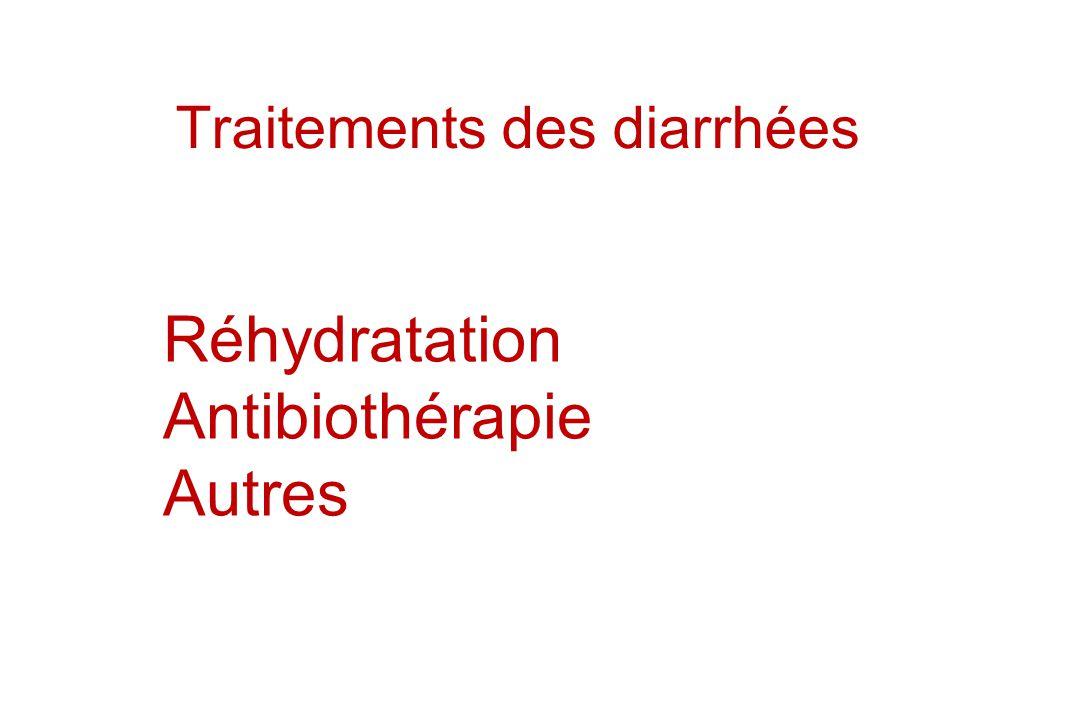 Traitements des diarrhées Réhydratation Antibiothérapie Autres