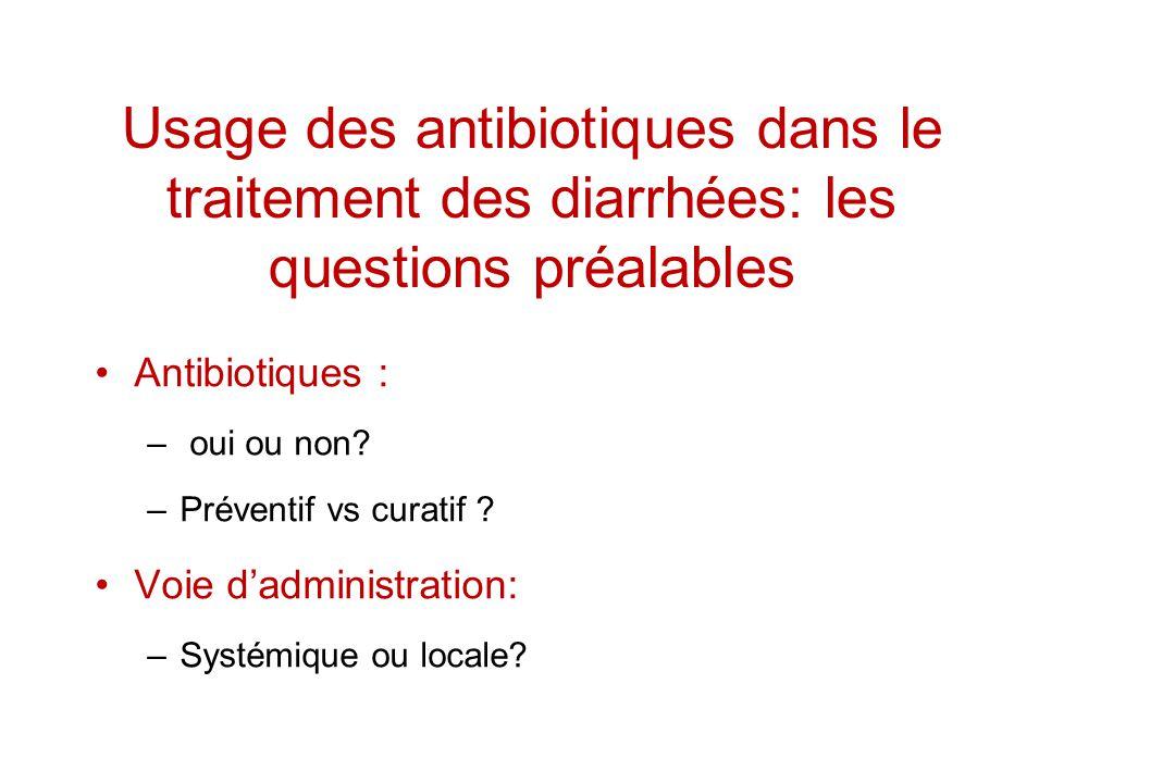 Usage des antibiotiques dans le traitement des diarrhées: les questions préalables Antibiotiques : – oui ou non? –Préventif vs curatif ? Voie dadminis