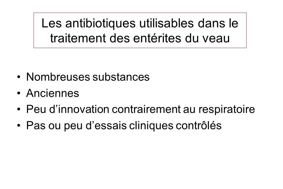 Les antibiotiques utilisables dans le traitement des entérites du veau Nombreuses substances Anciennes Peu dinnovation contrairement au respiratoire P