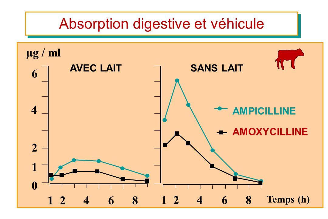 Absorption digestive et véhicule Temps (h) AVEC LAIT 6 4 2 1 12468 0 SANS LAIT 12468 AMPICILLINE AMOXYCILLINE µg / ml