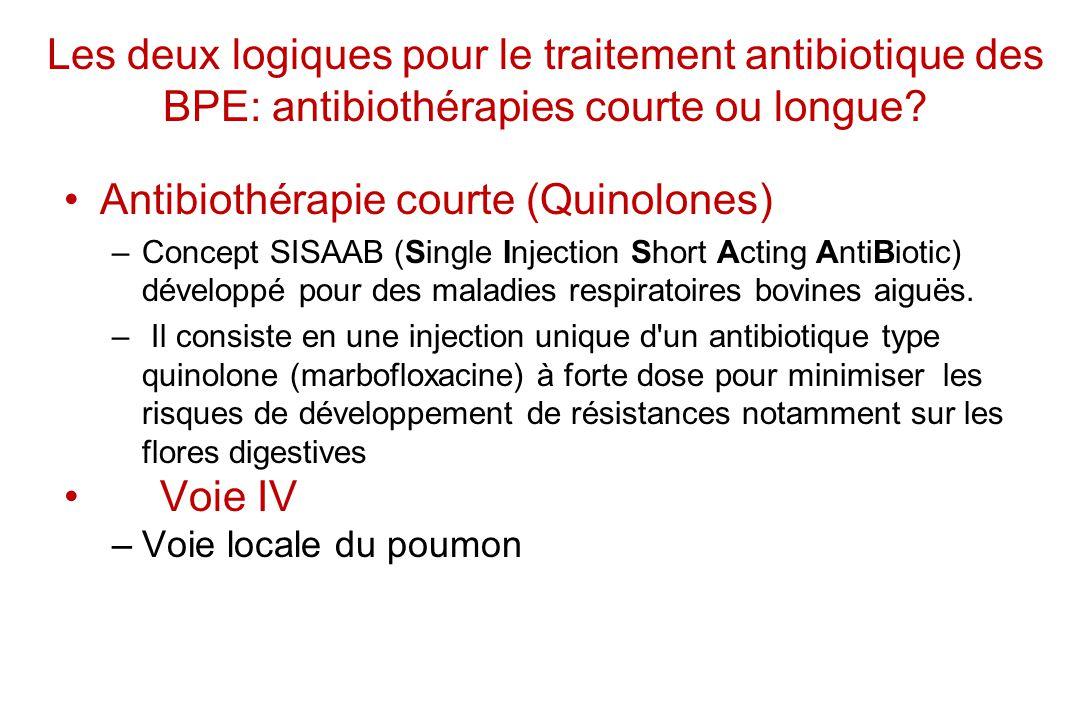 Les deux logiques pour le traitement antibiotique des BPE: antibiothérapies courte ou longue? Antibiothérapie courte (Quinolones) –Concept SISAAB (Sin