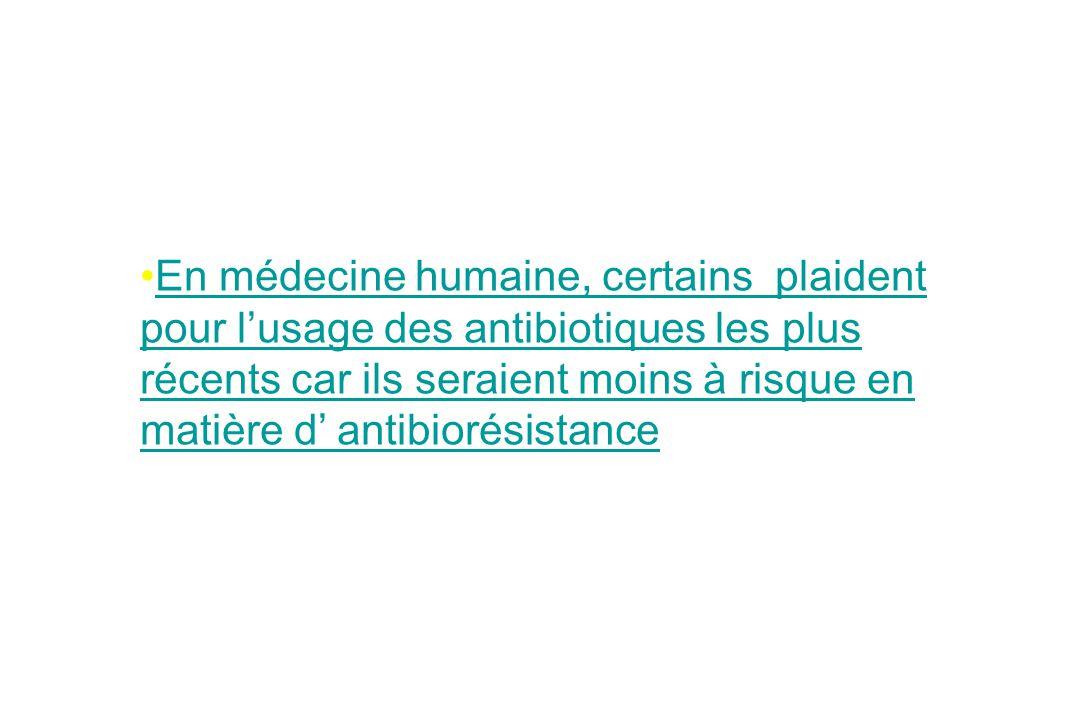 En médecine humaine, certains plaident pour lusage des antibiotiques les plus récents car ils seraient moins à risque en matière d antibiorésistanceEn