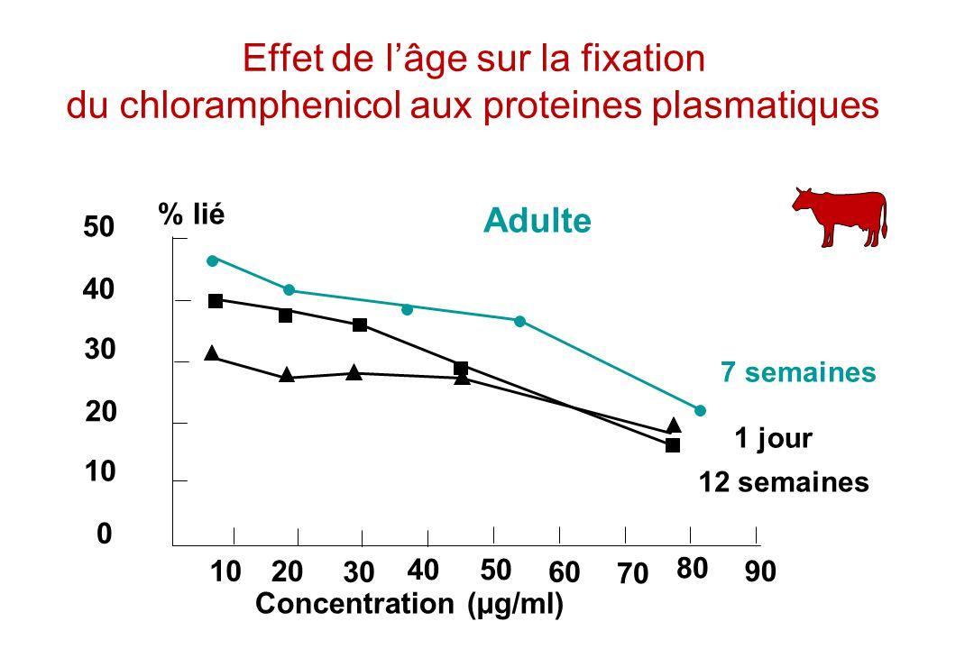 50 40 30 20 10 20 30 4050 60 70 80 90 % lié Concentration (µg/ml) 0 Adulte 7 semaines 1 jour 12 semaines Effet de lâge sur la fixation du chlorampheni