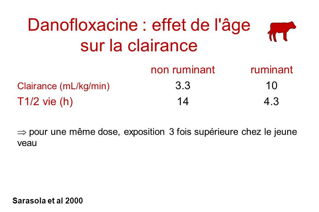 Danofloxacine : effet de l'âge sur la clairance non ruminantruminant Clairance (mL/kg/min) 3.310 T1/2 vie (h)144.3 pour une même dose, exposition 3 fo