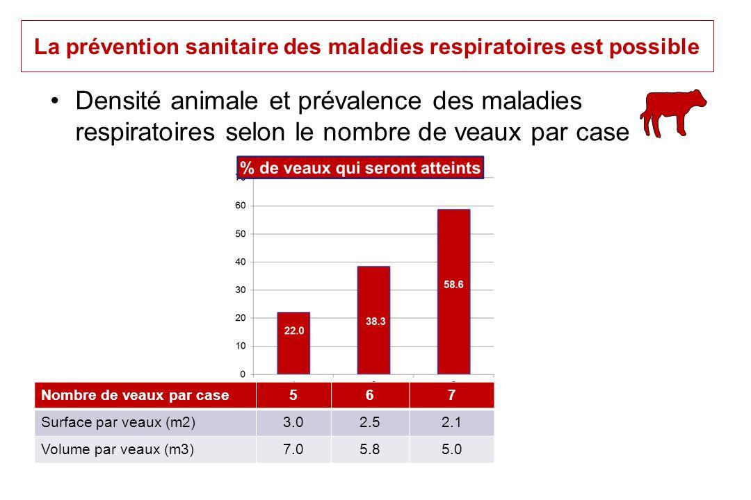 La prévention sanitaire des maladies respiratoires est possible Densité animale et prévalence des maladies respiratoires selon le nombre de veaux par