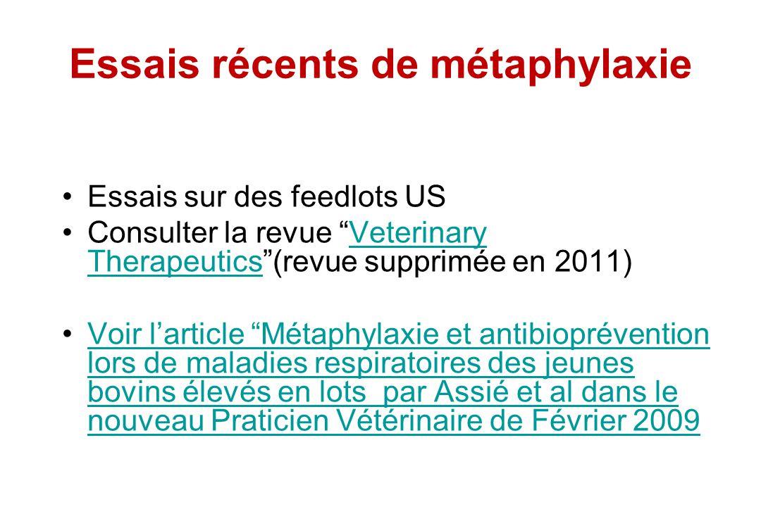Essais récents de métaphylaxie Essais sur des feedlots US Consulter la revue Veterinary Therapeutics(revue supprimée en 2011)Veterinary Therapeutics V
