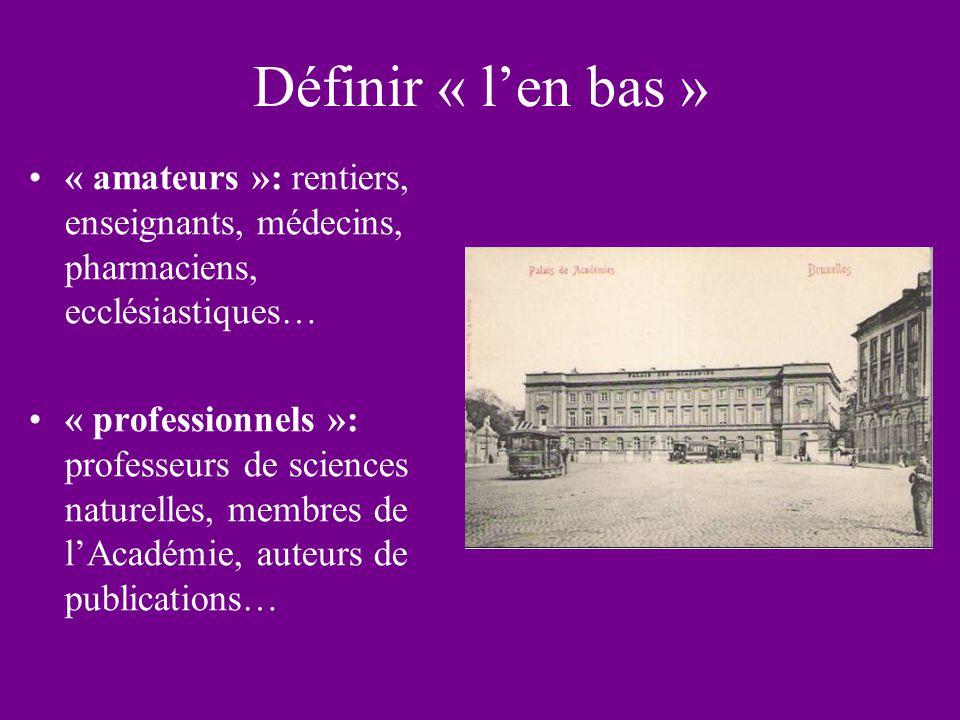 Définir « len bas » « amateurs »: rentiers, enseignants, médecins, pharmaciens, ecclésiastiques… « professionnels »: professeurs de sciences naturelles, membres de lAcadémie, auteurs de publications…