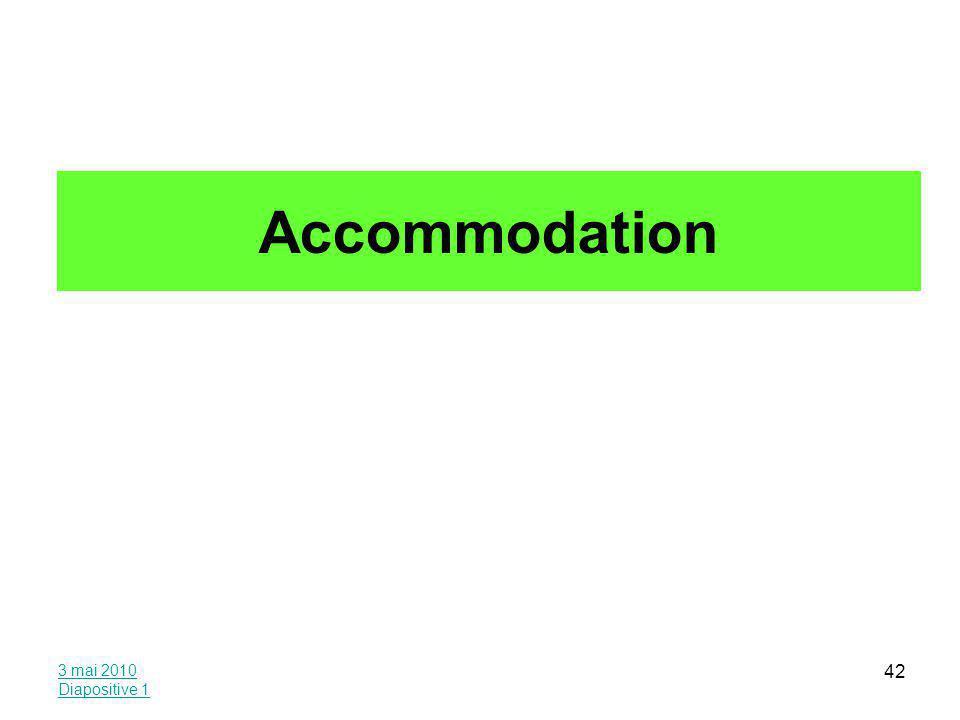 3 mai 2010 Diapositive 1 42 Accommodation