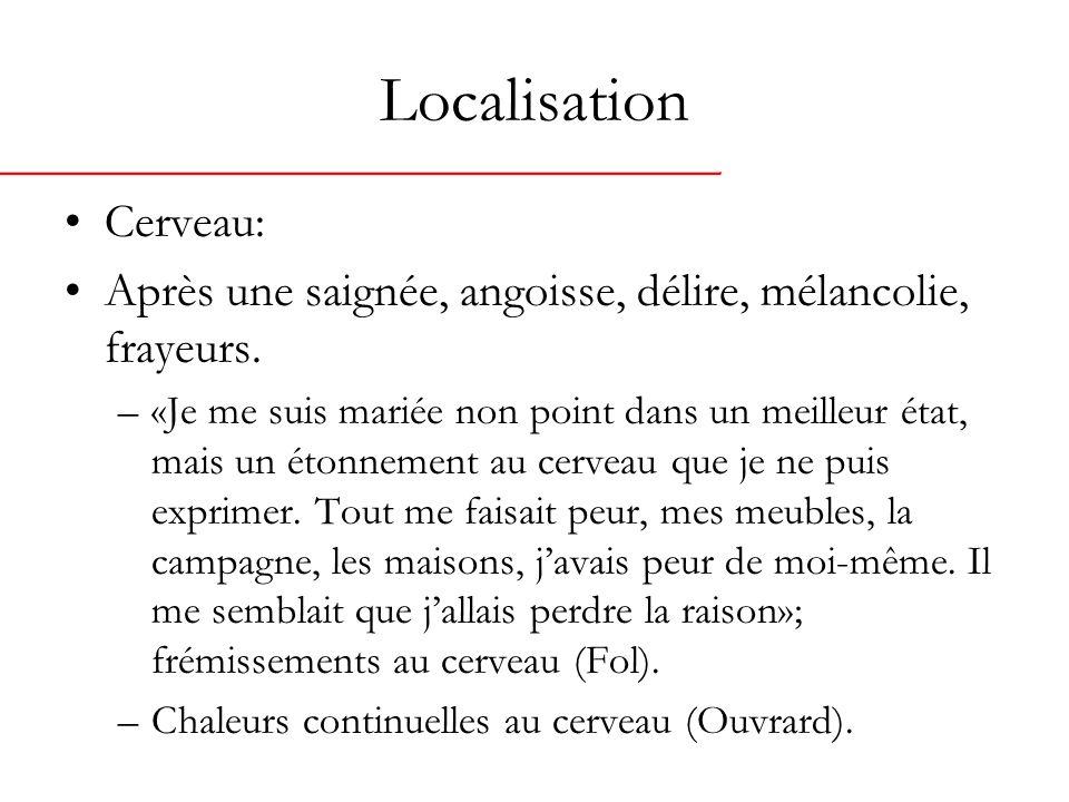 Localisation Cerveau: Après une saignée, angoisse, délire, mélancolie, frayeurs.