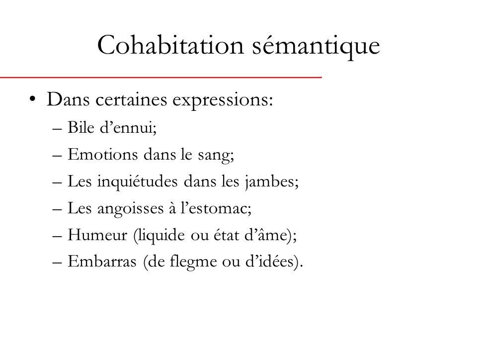 Cohabitation sémantique Dans certaines expressions: –Bile dennui; –Emotions dans le sang; –Les inquiétudes dans les jambes; –Les angoisses à lestomac; –Humeur (liquide ou état dâme); –Embarras (de flegme ou didées).