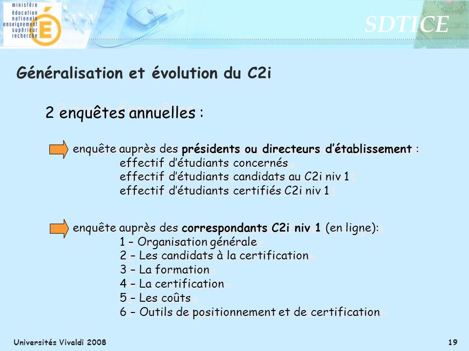 SDTICE Universités Vivaldi 2008 19 Généralisation et évolution du C2i 2 types denquêtes : enquête auprès des présidents ou directeurs détablissement :