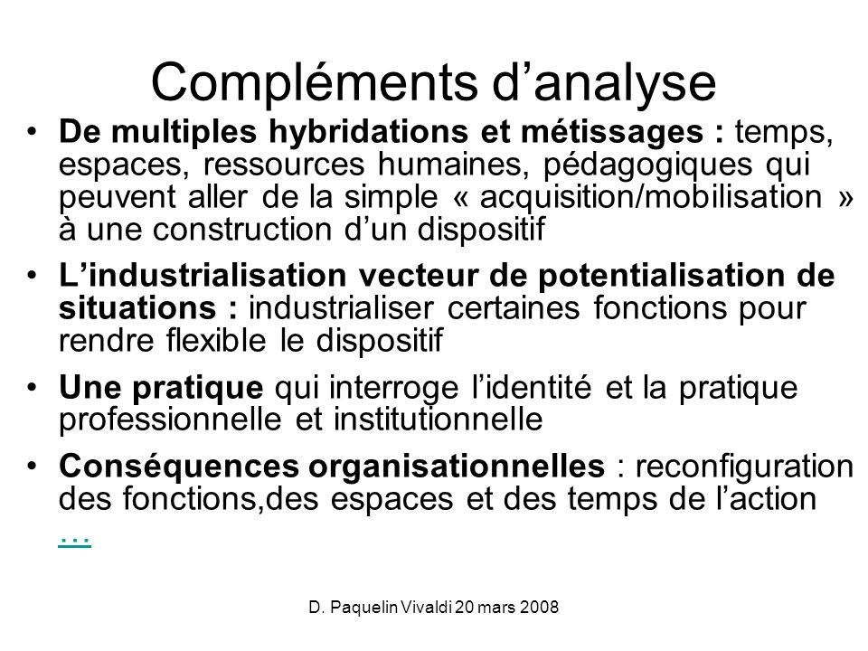 D. Paquelin Vivaldi 20 mars 2008 Compléments danalyse De multiples hybridations et métissages : temps, espaces, ressources humaines, pédagogiques qui