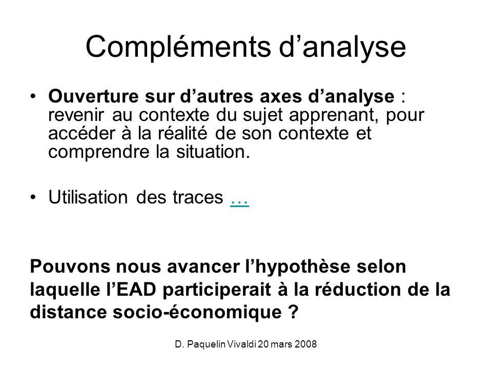 D. Paquelin Vivaldi 20 mars 2008 Compléments danalyse Ouverture sur dautres axes danalyse : revenir au contexte du sujet apprenant, pour accéder à la
