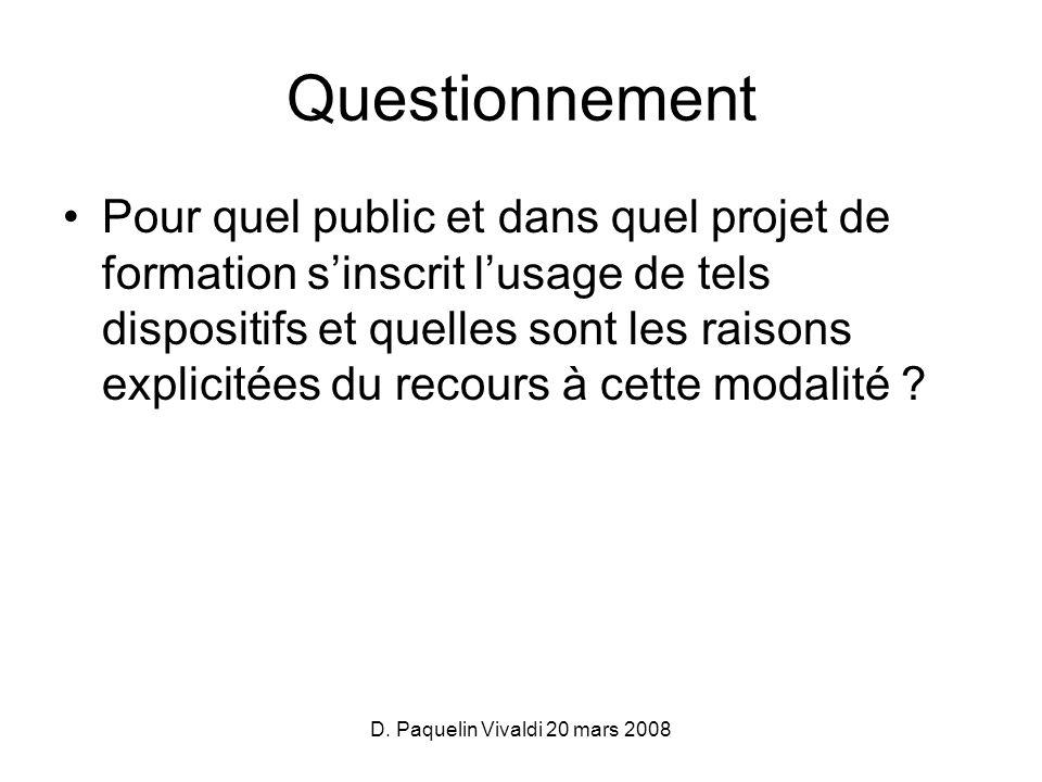 D. Paquelin Vivaldi 20 mars 2008 Questionnement Pour quel public et dans quel projet de formation sinscrit lusage de tels dispositifs et quelles sont