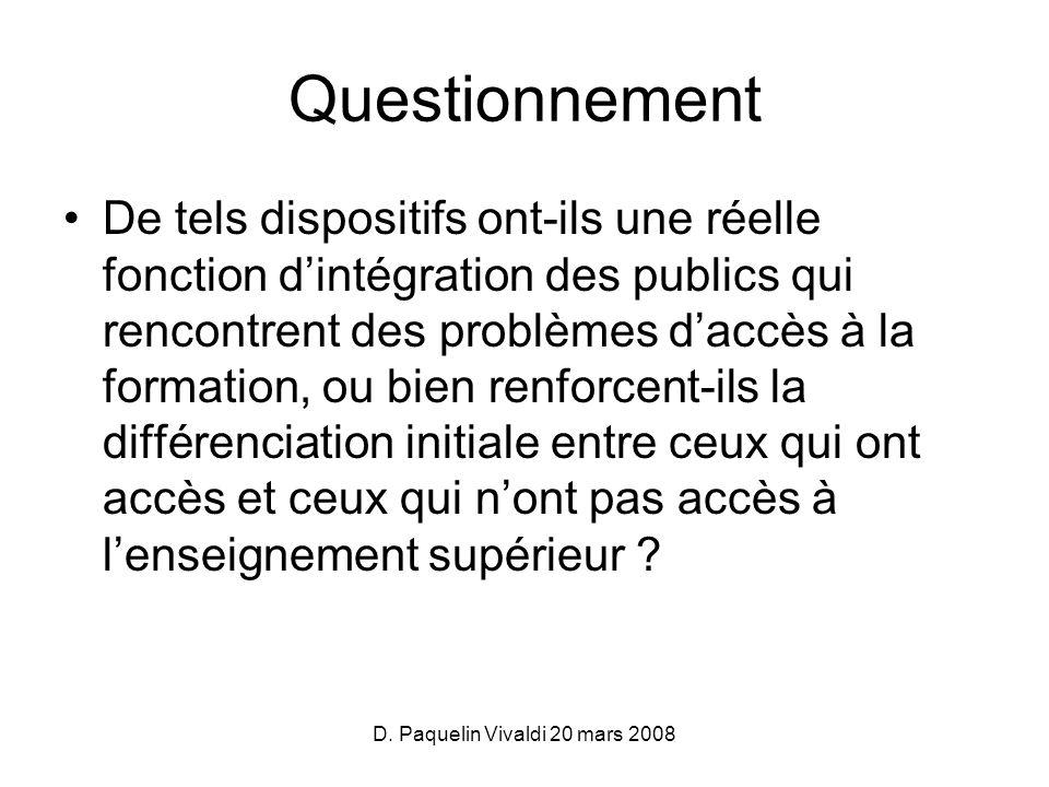 D. Paquelin Vivaldi 20 mars 2008 Questionnement De tels dispositifs ont-ils une réelle fonction dintégration des publics qui rencontrent des problèmes