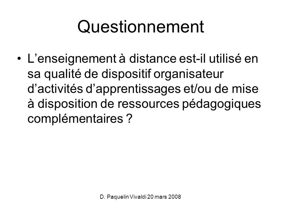 D. Paquelin Vivaldi 20 mars 2008 Questionnement Lenseignement à distance est-il utilisé en sa qualité de dispositif organisateur dactivités dapprentis