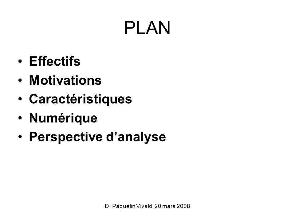 D. Paquelin Vivaldi 20 mars 2008 PLAN Effectifs Motivations Caractéristiques Numérique Perspective danalyse