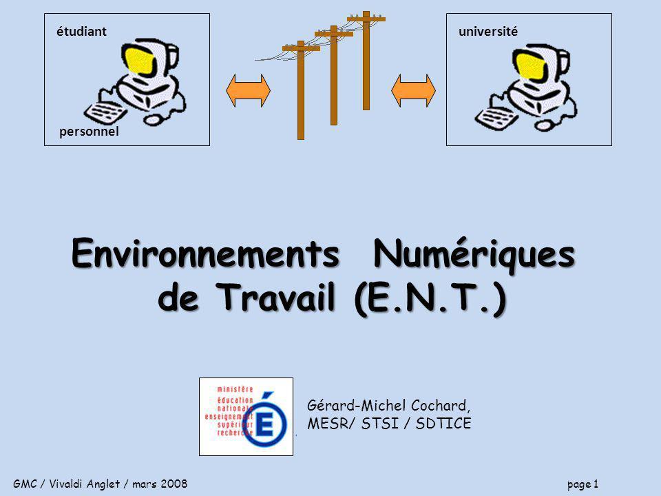 GMC / Vivaldi Anglet / mars 2008 page 1 Gérard-Michel Cochard, MESR/ STSI / SDTICE universitéétudiant personnel Environnements Numériques de Travail (E.N.T.)