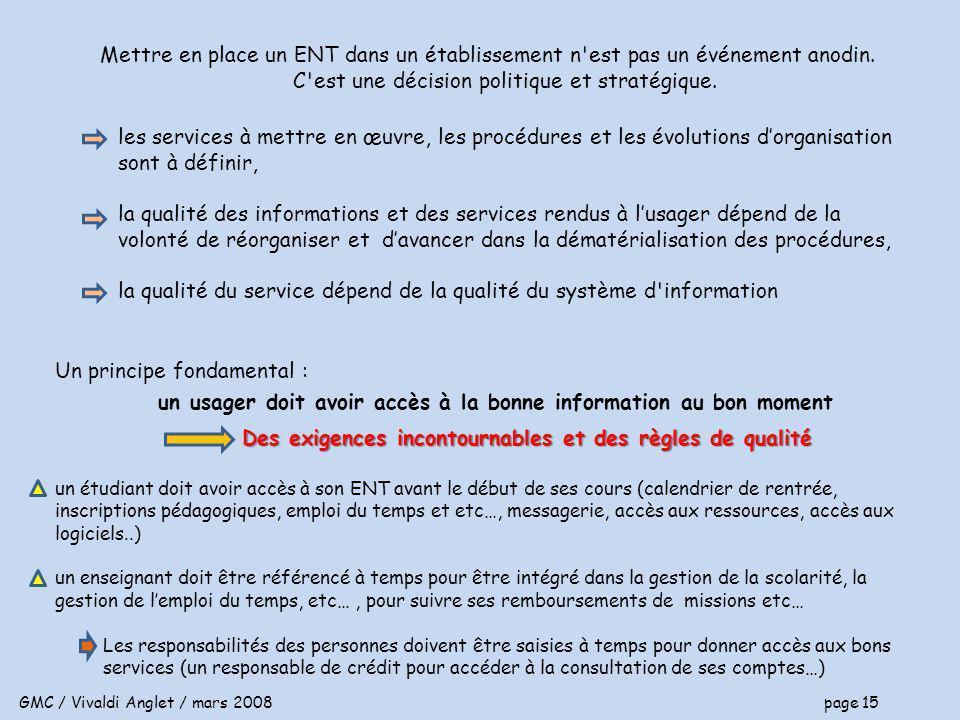 GMC / Vivaldi Anglet / mars 2008 page 15 Mettre en place un ENT dans un établissement n est pas un événement anodin.