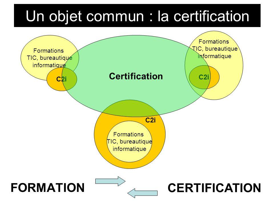 Un objet commun : la certification Formations TIC, bureautique informatique C2i Formations TIC, bureautique informatique C2i Formations TIC, bureautique informatique C2i Certification FORMATION CERTIFICATION