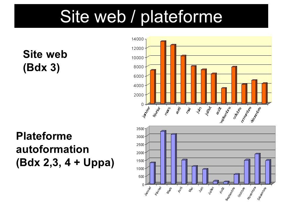 Site web / plateforme Site web (Bdx 3) Plateforme autoformation (Bdx 2,3, 4 + Uppa)