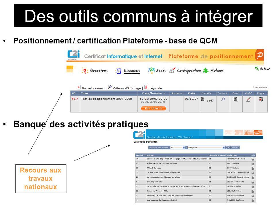 Des outils communs à intégrer Positionnement / certification Plateforme - base de QCM Banque des activités pratiques Recours aux travaux nationaux