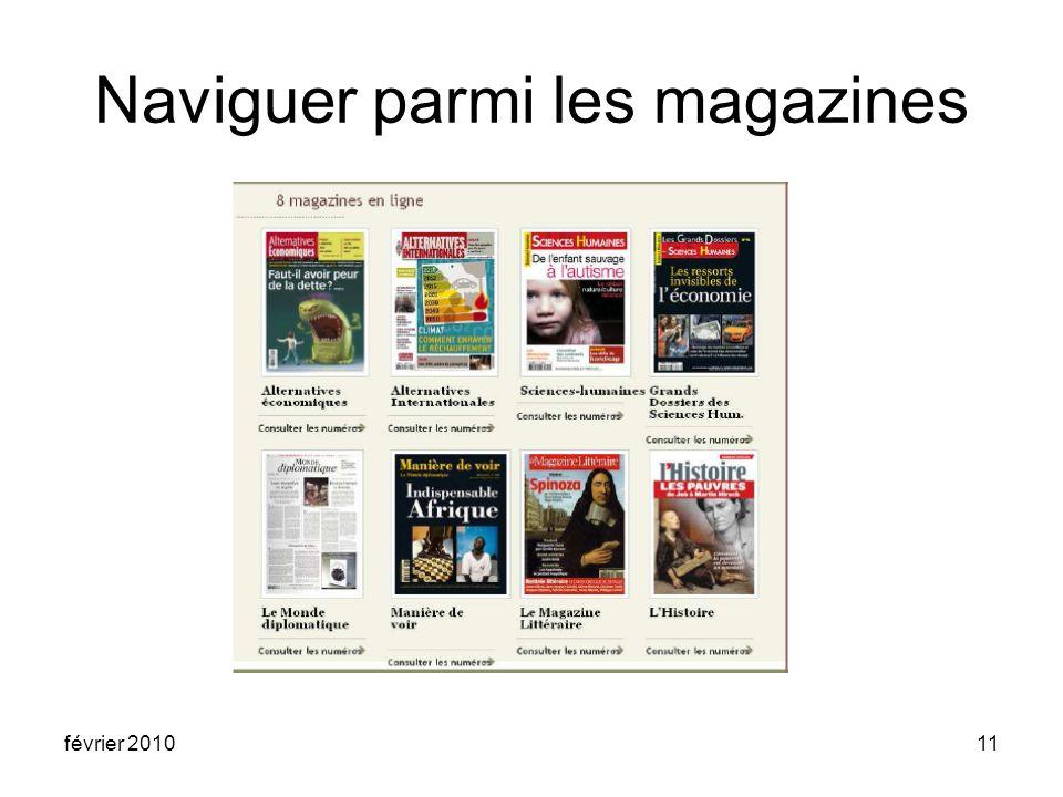 février 201011 Naviguer parmi les magazines