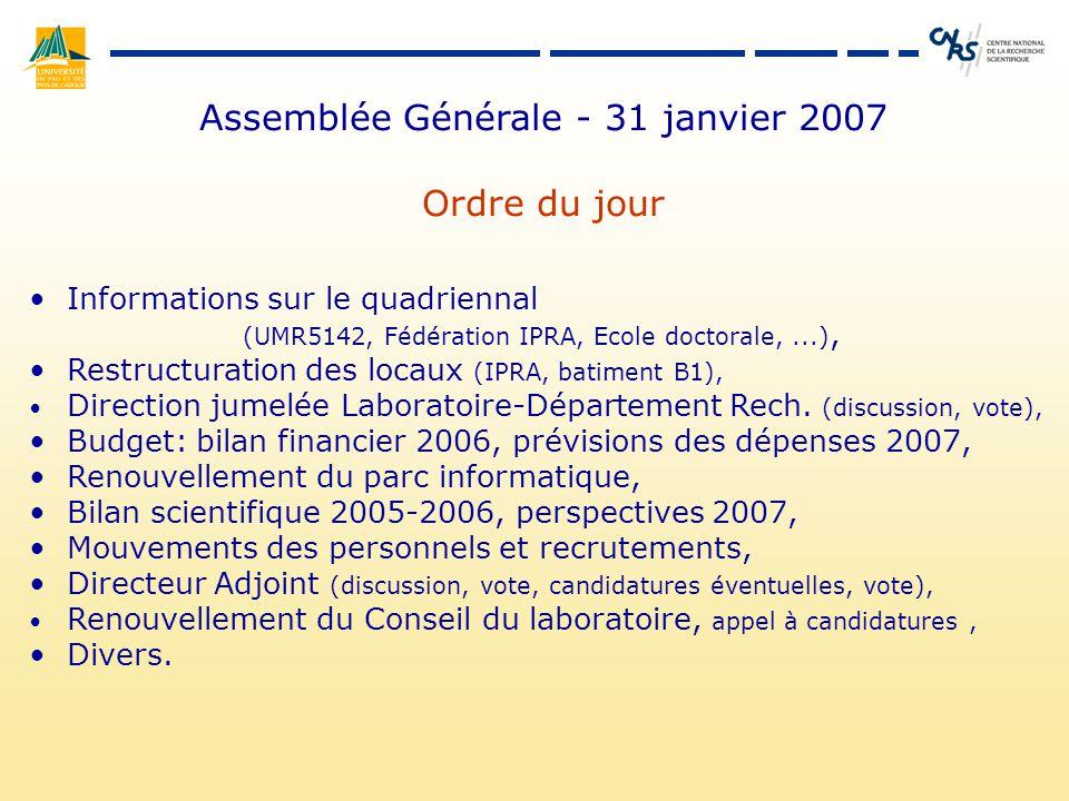 Assemblée Générale - 31 janvier 2007 Ordre du jour Informations sur le quadriennal (UMR5142, Fédération IPRA, Ecole doctorale,...), Restructuration des locaux (IPRA, batiment B1), Direction jumelée Laboratoire-Département Rech.