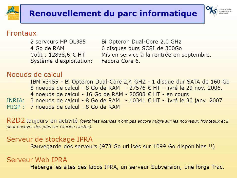 Renouvellement du parc informatique Frontaux 2 serveurs HP DL385 Bi Opteron Dual-Core 2,0 GHz 4 Go de RAM 6 disques durs SCSI de 300Go Coût : 12838,6 HT Mis en service à la rentrée en septembre.