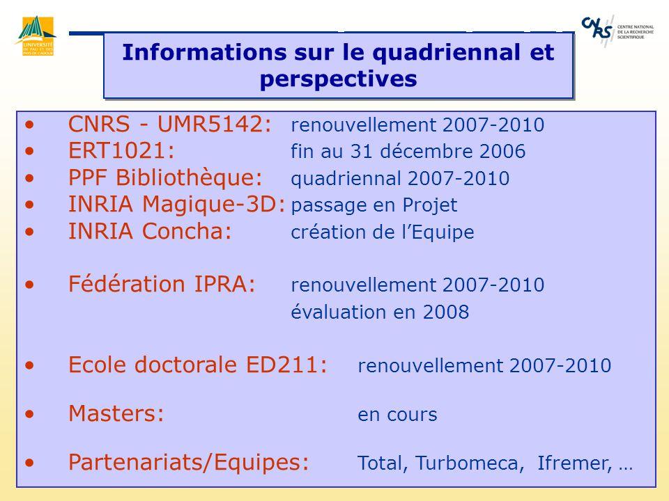 Informations sur le quadriennal et perspectives CNRS - UMR5142: renouvellement 2007-2010 ERT1021: fin au 31 décembre 2006 PPF Bibliothèque: quadrienna