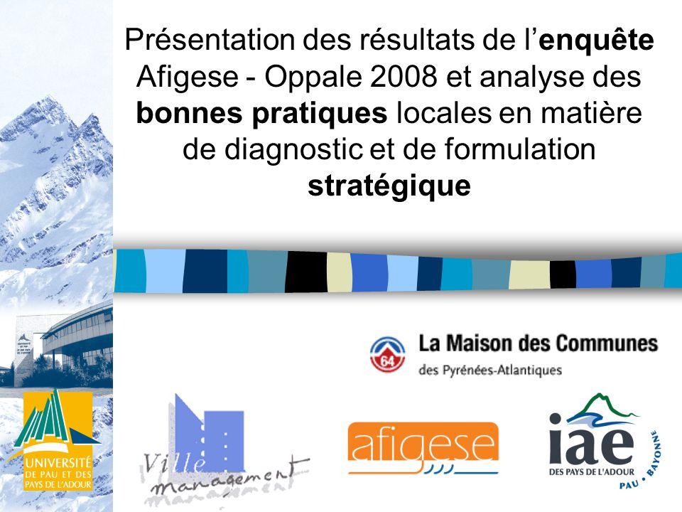 Présentation des résultats de lenquête Afigese - Oppale 2008 et analyse des bonnes pratiques locales en matière de diagnostic et de formulation stratégique
