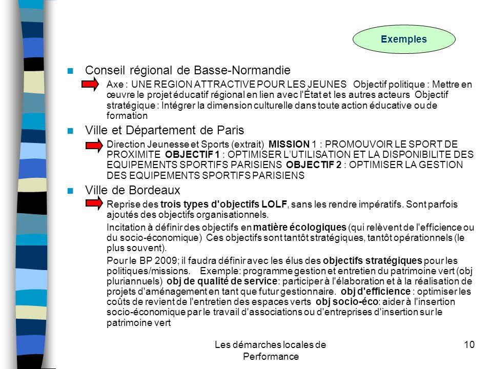 Les démarches locales de Performance 10 Conseil régional de Basse-Normandie –Axe : UNE REGION ATTRACTIVE POUR LES JEUNES Objectif politique : Mettre en œuvre le projet éducatif régional en lien avec l État et les autres acteurs Objectif stratégique : Intégrer la dimension culturelle dans toute action éducative ou de formation Ville et Département de Paris –Direction Jeunesse et Sports (extrait) MISSION 1 : PROMOUVOIR LE SPORT DE PROXIMITE OBJECTIF 1 : OPTIMISER LUTILISATION ET LA DISPONIBILITE DES EQUIPEMENTS SPORTIFS PARISIENS OBJECTIF 2 : OPTIMISER LA GESTION DES EQUIPEMENTS SPORTIFS PARISIENS Ville de Bordeaux –Reprise des trois types d objectifs LOLF, sans les rendre impératifs.