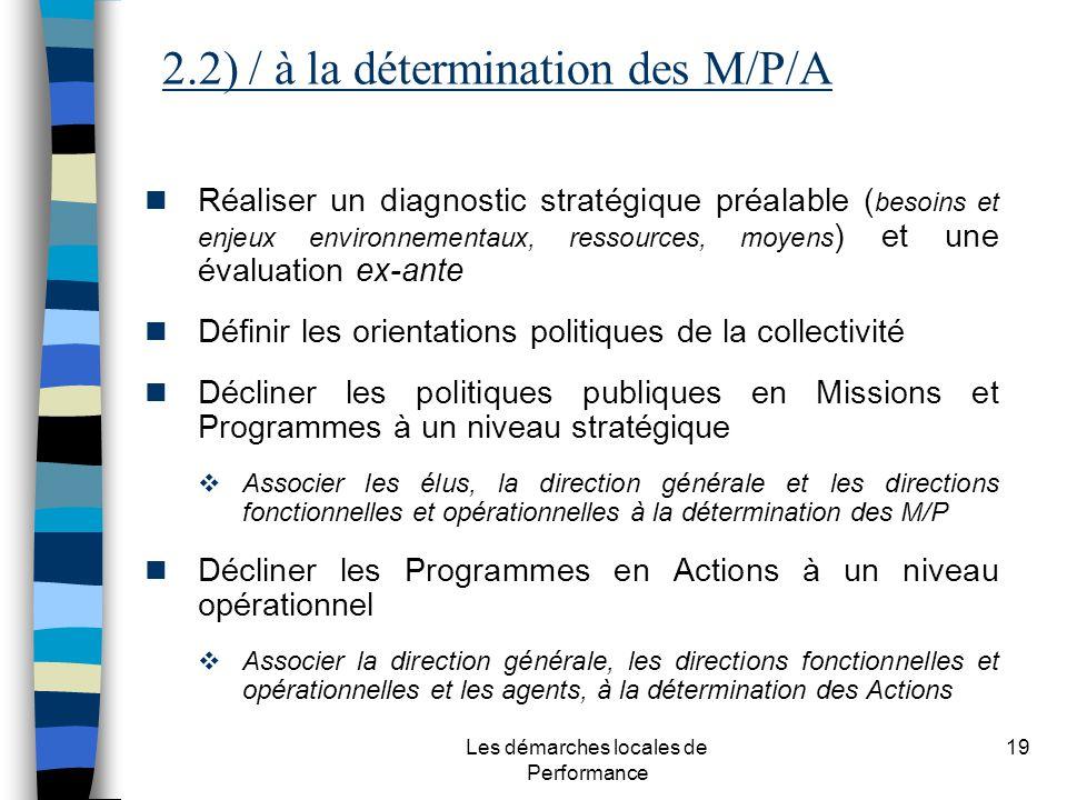 Les démarches locales de Performance 19 Réaliser un diagnostic stratégique préalable ( besoins et enjeux environnementaux, ressources, moyens ) et une