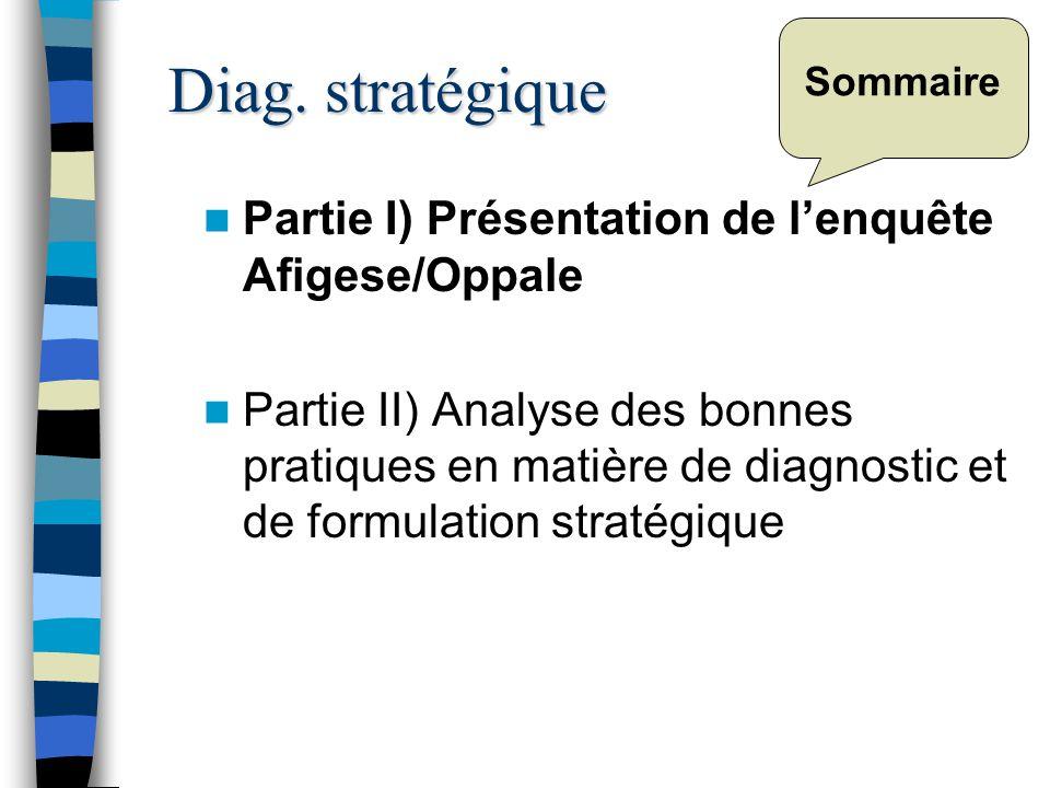 Sommaire Partie I) Présentation de lenquête Afigese/Oppale Partie II) Analyse des bonnes pratiques en matière de diagnostic et de formulation stratégique Diag.