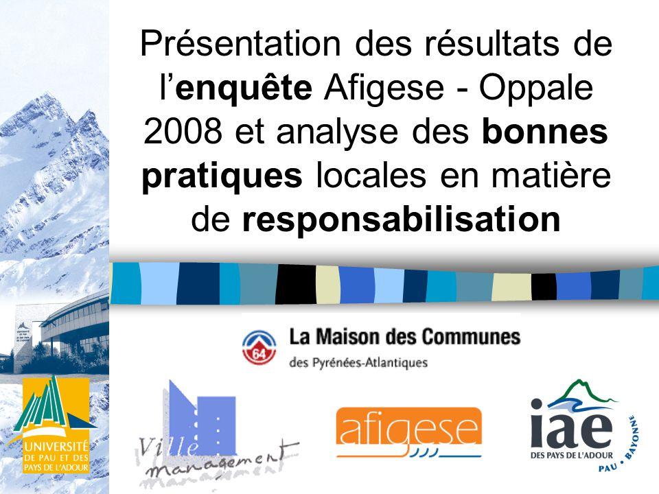 Présentation des résultats de lenquête Afigese - Oppale 2008 et analyse des bonnes pratiques locales en matière de responsabilisation
