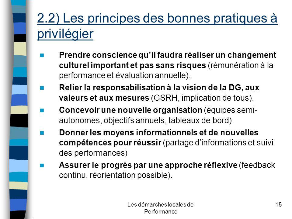 Les démarches locales de Performance 15 Prendre conscience quil faudra réaliser un changement culturel important et pas sans risques (rémunération à la performance et évaluation annuelle).