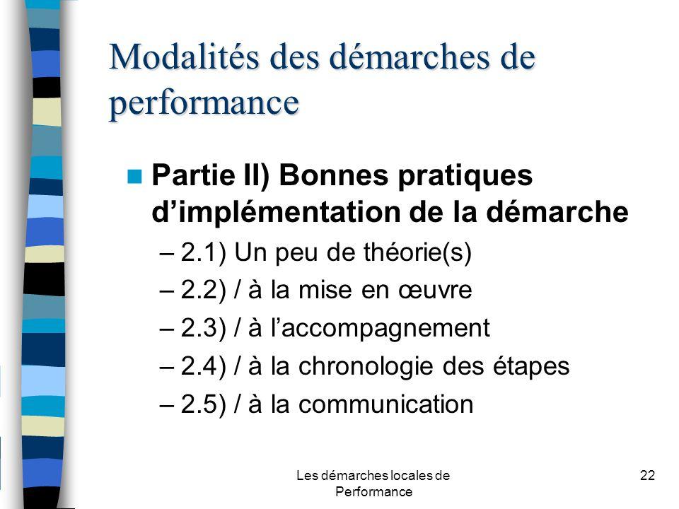 Les démarches locales de Performance 22 Partie II) Bonnes pratiques dimplémentation de la démarche –2.1) Un peu de théorie(s) –2.2) / à la mise en œuvre –2.3) / à laccompagnement –2.4) / à la chronologie des étapes –2.5) / à la communication Modalités des démarches de performance