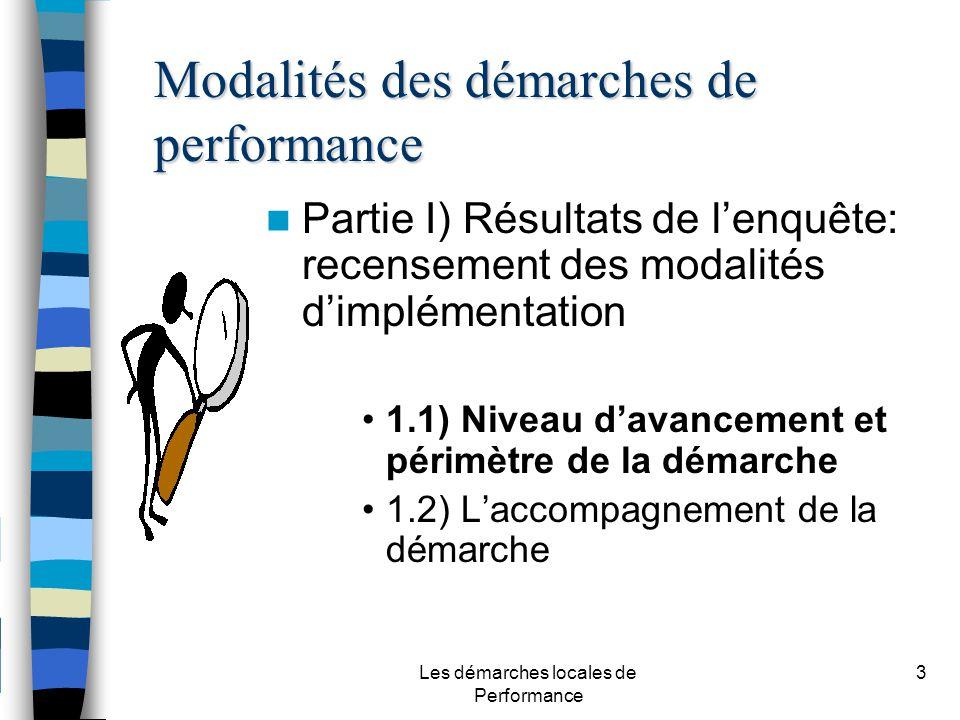 Les démarches locales de Performance 3 Partie I) Résultats de lenquête: recensement des modalités dimplémentation 1.1) Niveau davancement et périmètre de la démarche 1.2) Laccompagnement de la démarche Modalités des démarches de performance