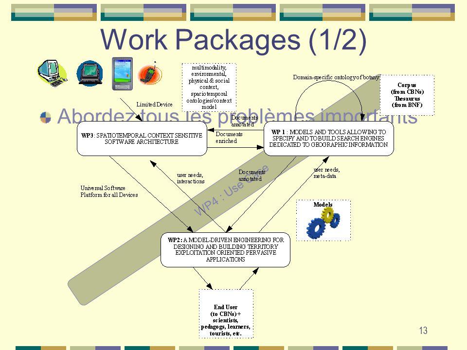 13 WP4 : Use Case Work Packages (1/2) Abordez tous les problèmes importants 13