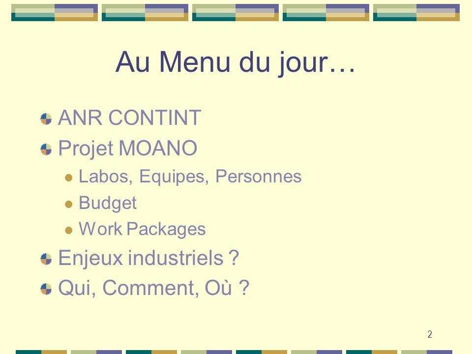 2 Au Menu du jour… ANR CONTINT Projet MOANO Labos, Equipes, Personnes Budget Work Packages Enjeux industriels ? Qui, Comment, Où ? 2