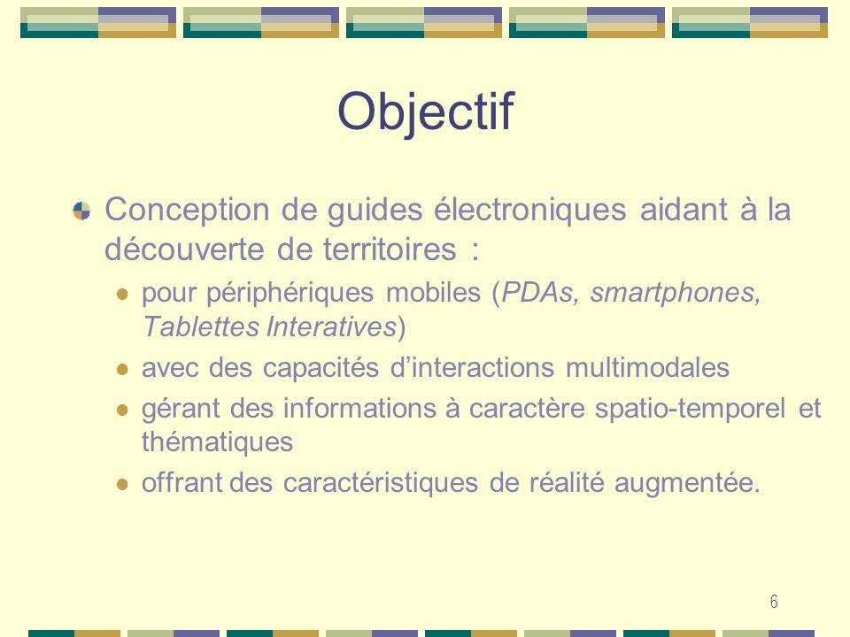 6 Objectif Conception de guides électroniques aidant à la découverte de territoires : pour périphériques mobiles (PDAs, smartphones, Tablettes Interat