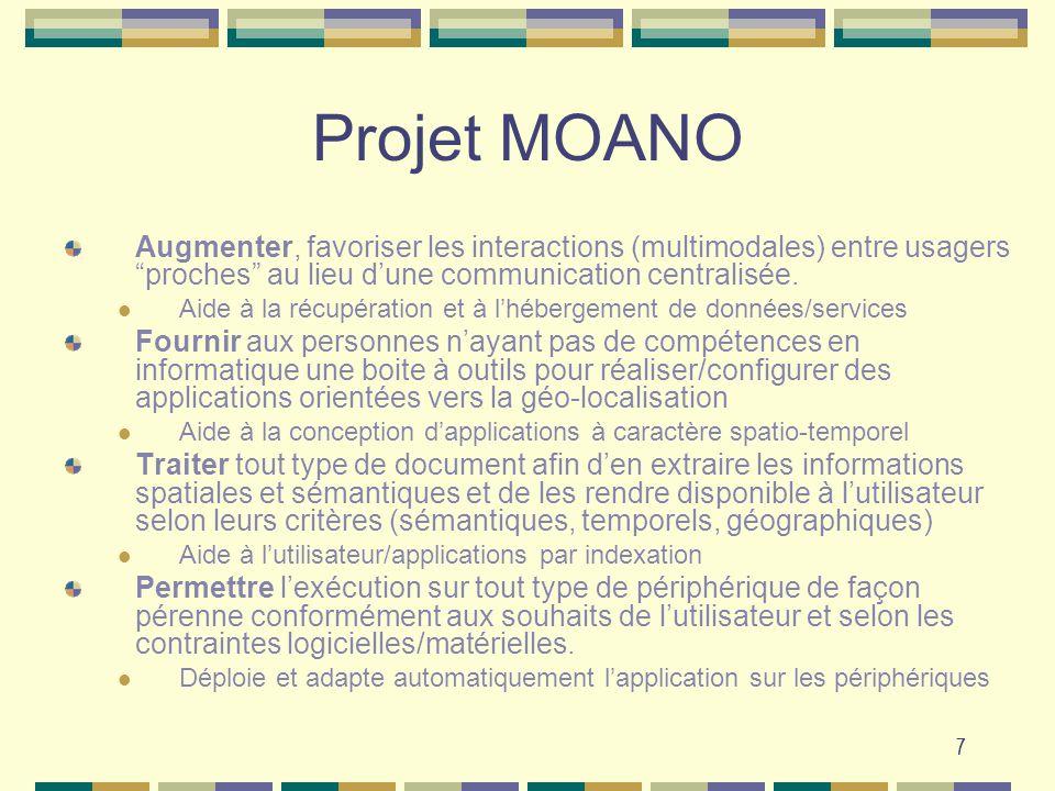 7 Projet MOANO Augmenter, favoriser les interactions (multimodales) entre usagers proches au lieu dune communication centralisée. Aide à la récupérati