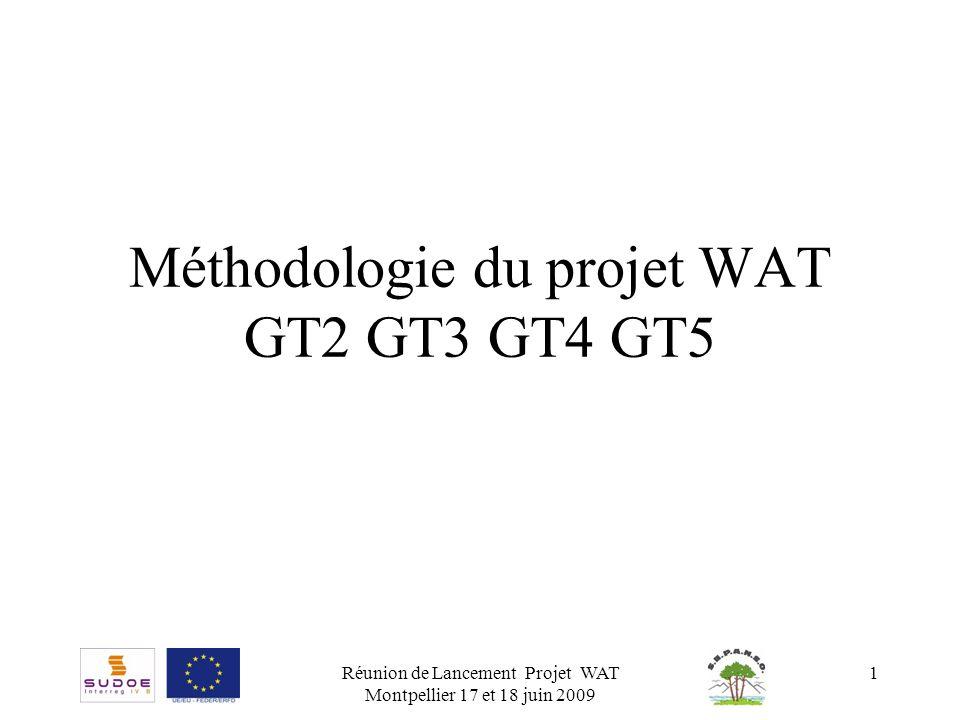 Réunion de Lancement Projet WAT Montpellier 17 et 18 juin 2009 1 Méthodologie du projet WAT GT2 GT3 GT4 GT5