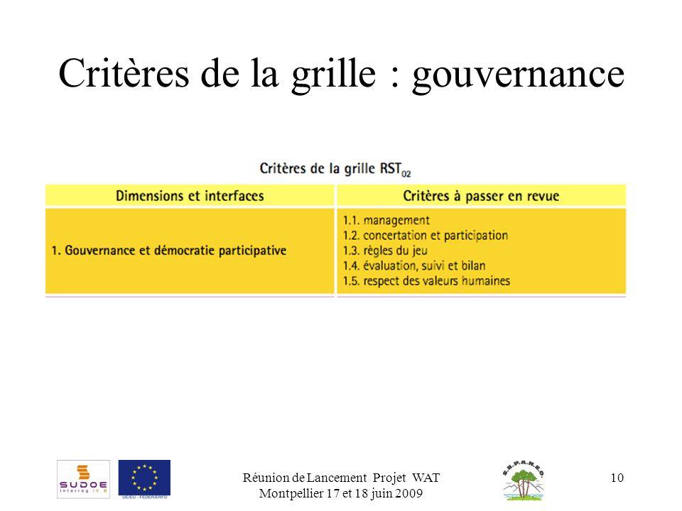 Réunion de Lancement Projet WAT Montpellier 17 et 18 juin 2009 10 Critères de la grille : gouvernance