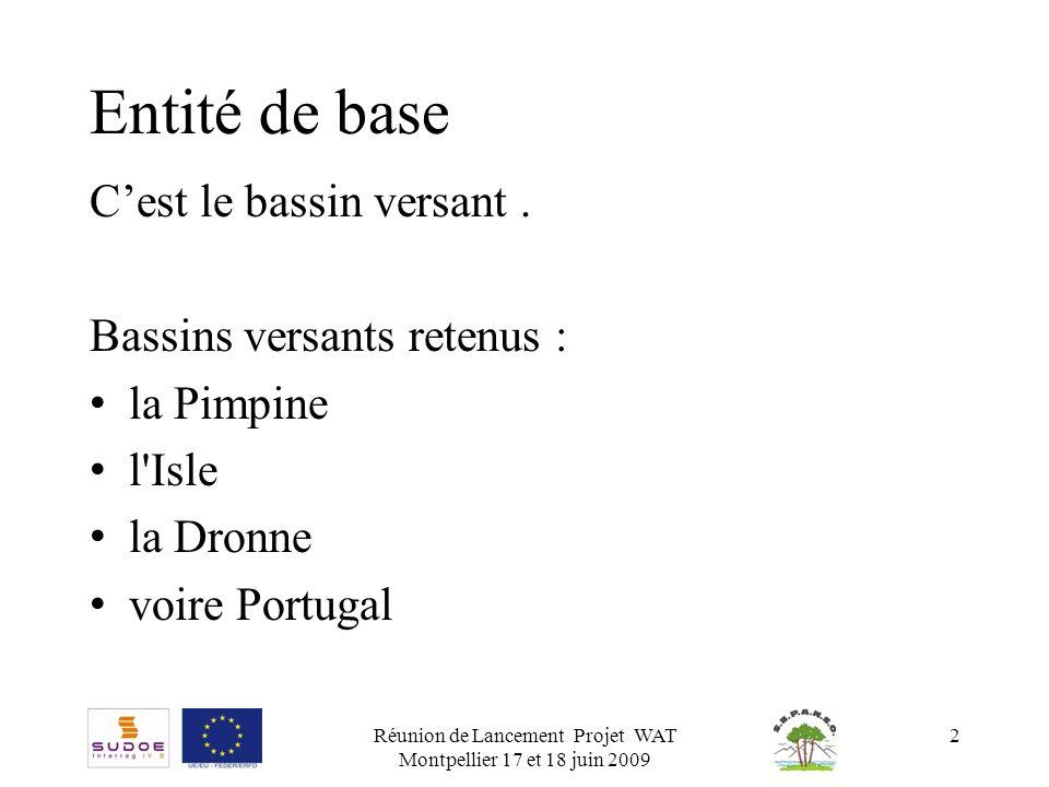 Réunion de Lancement Projet WAT Montpellier 17 et 18 juin 2009 2 Entité de base Cest le bassin versant. Bassins versants retenus : la Pimpine l'Isle l