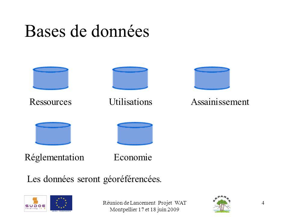 Réunion de Lancement Projet WAT Montpellier 17 et 18 juin 2009 4 Bases de données RessourcesUtilisationsAssainissement RéglementationEconomie Les donn