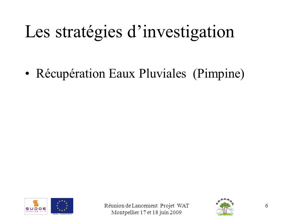 Réunion de Lancement Projet WAT Montpellier 17 et 18 juin 2009 6 Les stratégies dinvestigation Récupération Eaux Pluviales (Pimpine)