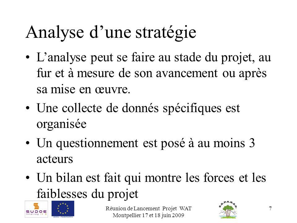Réunion de Lancement Projet WAT Montpellier 17 et 18 juin 2009 7 Analyse dune stratégie Lanalyse peut se faire au stade du projet, au fur et à mesure