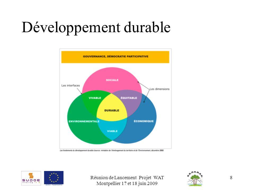 Réunion de Lancement Projet WAT Montpellier 17 et 18 juin 2009 9 Grille RST 02 La grille RST 02 est un outil de questionnement et d analyse, destiné à mettre en lumière les points faibles et les points forts d un projet en regard de critères du développement durable.