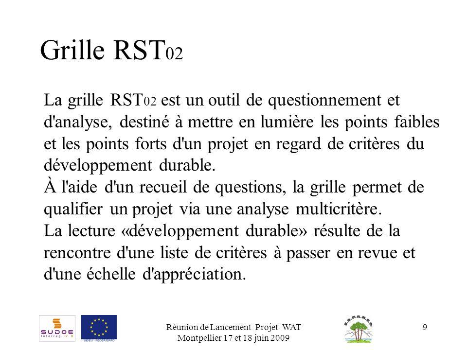 Réunion de Lancement Projet WAT Montpellier 17 et 18 juin 2009 9 Grille RST 02 La grille RST 02 est un outil de questionnement et d'analyse, destiné à